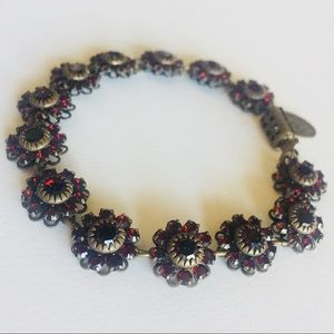 Liz Paiacios Red Flower Crystal Bracelet
